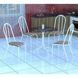 Conjunto Mesa Valencia E 4 Cadeiras Alicante Branco E Preto Listrado