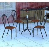 Conjunto Mesa Valencia E 4 Cadeiras Alicante Preto Prata E Amadeirado