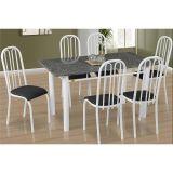 Conjunto de Mesa Barcelona e 6 Cadeiras Sevilha Branco e Preto