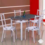 Conjunto de Mesa Gênova Com 4 Cadeiras Lisboa Branco Liso E Branco Floral