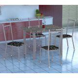 Conjunto de Mesa Gênova Com 4 Cadeiras Lisboa Branco Prata E Preto Floral