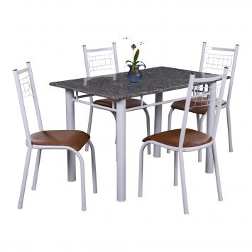 Conjunto de Mesa Gênova com 4 Cadeiras Lisboa Branco Liso E Amadeirado Fabone CJ GENOVA 1,10 C / 4 CAD LISBOA
