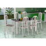Conjunto de Mesa Granada Com 6 Cadeiras Granada Branco Liso E Branco Floral