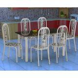 Conjunto de Mesa com 6 Cadeiras Granada Branco & Floral Fabone
