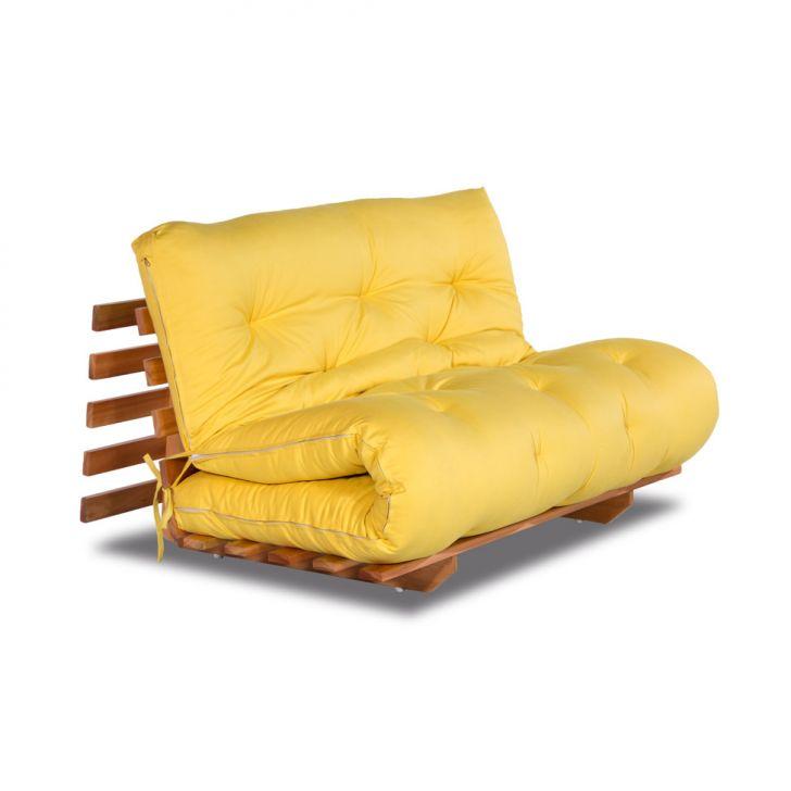 Sof cama casal tokyo sarja amarelo fabrica de futon for Fabrica sofa cama
