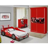 Quarto Juvenil Ferrari Fazan Vermelho com Guarda-Roupa/Cama e Cômoda em MDF