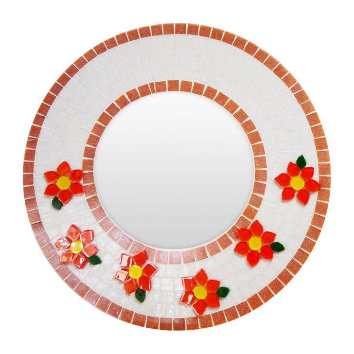 Espelho Redondo com Flores em Relevo DESCONTO DE R$: 90,00 (15,28% OFF) - OFERTA MOBLY