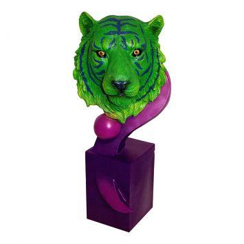 Escultura Tigre Bengala Green e Purple Fullway 56x25 Fullway 100008