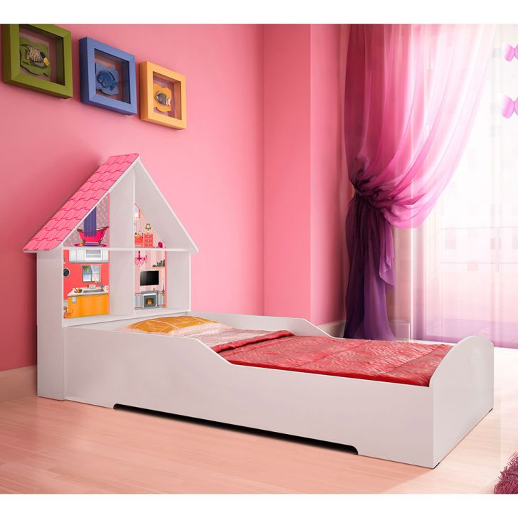 Cama infantil casinha branco e rosa gellius - Cama casita infantil ...