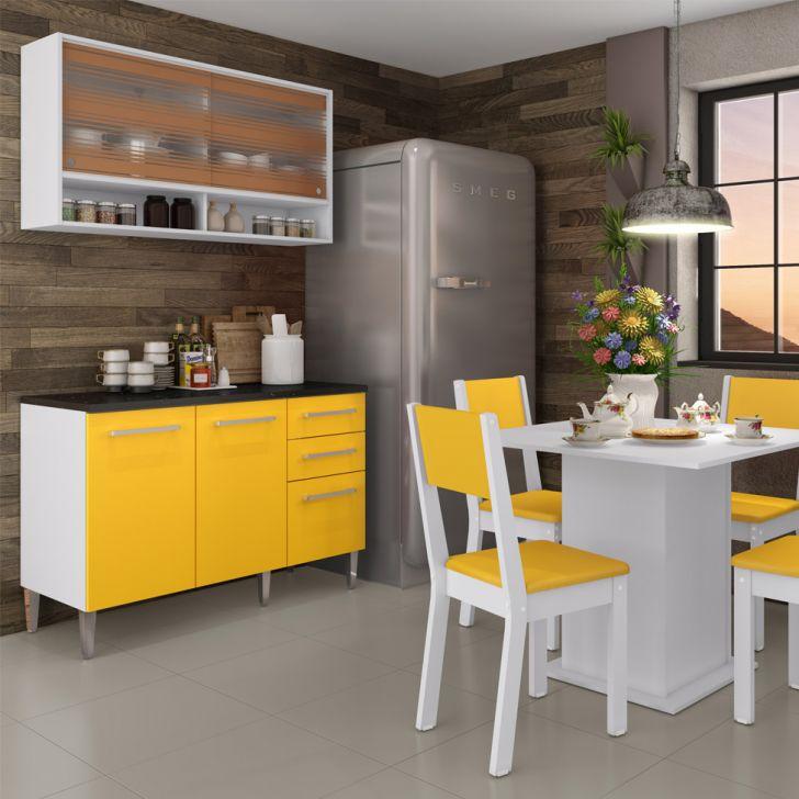 Cozinha Compacta 03 peças Fresia 5 Portas e 2 Gavetas Branco e Amarelo DESCONTO DE R$: 400,00 (32,00% OFF) - OFERTA MOBLY