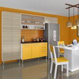 Cozinha Compacta 05 peças Amarilis 12 Portas e 2 Gavetas  Branco Tirol e Amarelo