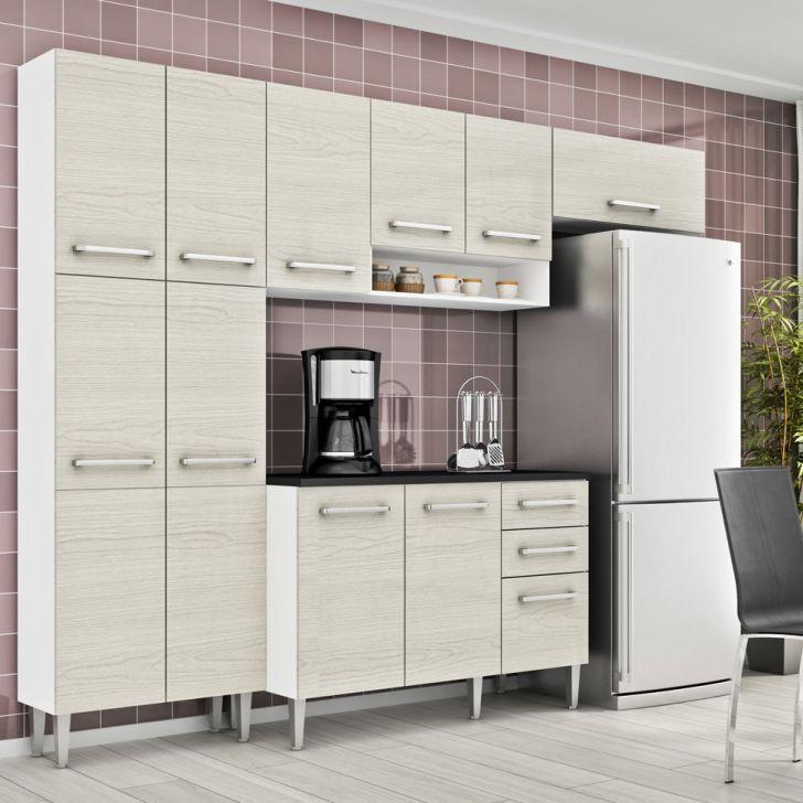 Cozinha Compacta Elis 3 5 Peças 12 Pt 3 Gav Branco E Tirol Brilhante Madesa DESCONTO DE R$: 630,00 (32,14% OFF) - OFERTA MOBLY
