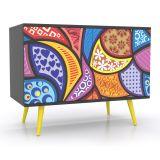 Balcão Buffet 2 Portas Alegria Preto & Amarelo & Azul Grupo Lush