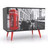 Balcão Buffet 2 Portas London Phone Preto, Vermelho & Branco Grupo Lush