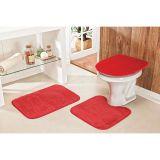 Conjunto de Tapete para Banheiro Extra Soft 03 Peças Vermelho