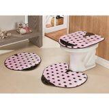 Conjunto de Tapete para Banheiro Joaninha 03 Peças Rosa