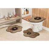 Conjunto de Tapete para Banheiro Margarida 03 Peças Castor