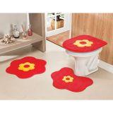 Conjunto de Tapete para Banheiro Margarida 03 Peças Vermelho