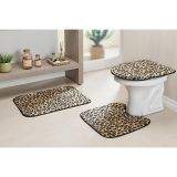 Conjunto de Tapete para Banheiro Safari 03 Peças Leopardo