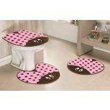 Jogo de Banheiro Formato Joaninha 03 Peças - Rosa