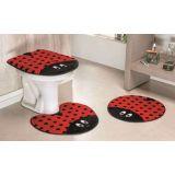Jogo de Banheiro Formato Joaninha 03 Peças - Vermelho