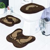 Jogo de Banheiro Formato Pegada 03 Peças - Café