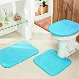 Jogo de Banheiro Liso 03 Peças - Azul Turquesa