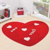 Tapete Formatos Coração Amo Você 76cm x 60cm - Vermelho