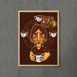 Quadro More Coffee com Moldura A3