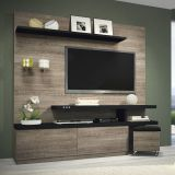 Home Theater Atrative Roble Graffiato e Preto HB Móveis