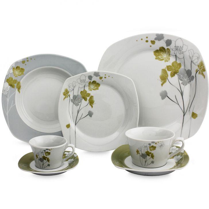 Jogo de Jantar Quadrado Floral Porcelana 20 pçs
