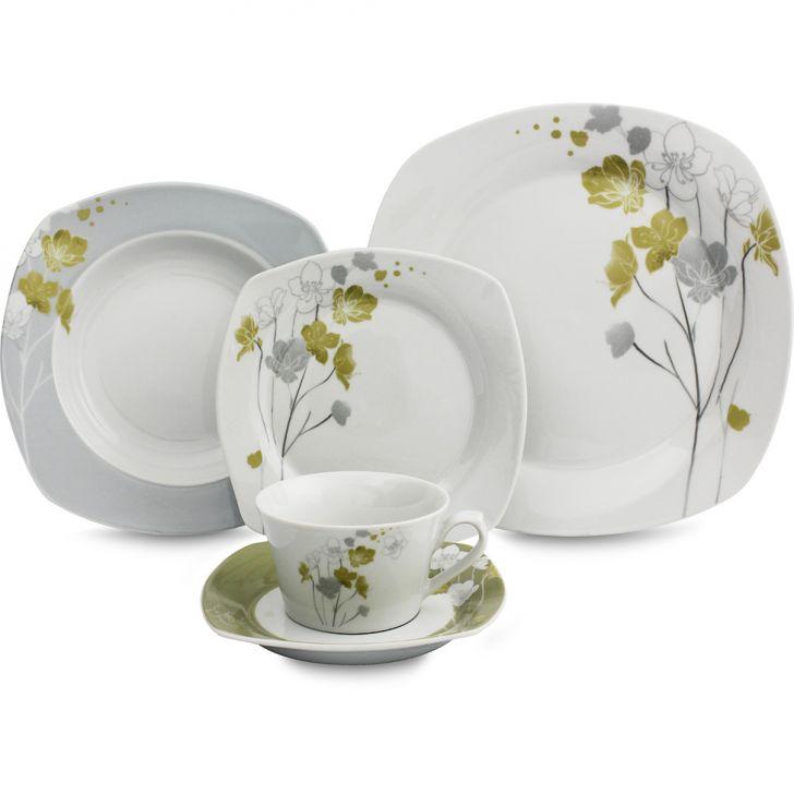 Jogo de Jantar Quadrado Floral Porcelana 42 pçs