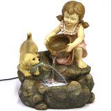 Estátua de Resina Menina com Cachorro