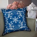 Capa de Almofada Arabesco Floral Azul 40x40