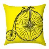 Capa de Almofada Bicicleta Preta Com Fundo Amarelo 40x40 Haus For Fun
