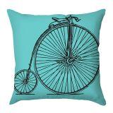 Capa de Almofada Bicicleta Preta Com Fundo Azul 40x40 Haus For Fun