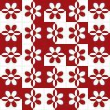 Ladrilho 2D Vermelho Flores 15x15