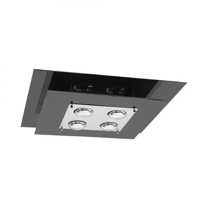 Plafon Saturno Aluminio e Vidro PMQ 131 Escovado Preto Bivolt DESCONTO DE R$: 268,00 (34,81% OFF) - OFERTA MOBLY