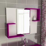 Espelheira de Banheiro Retangular 80 cm Branco & Violeta