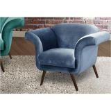 Poltrona Decorativa com Pés Palitos Modernos Tróia - Veludo Brilho Azul 054