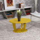 Mesa de Centro Redonda Imaza Móveis Rosa Amarelo Gema