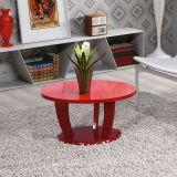 Mesa de Centro Redonda Imaza Móveis Rosa Vermelho