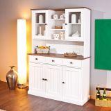 Kit de Cozinha Vitrine Pinus Westerland 5 PT 3 GAV Branco e Marrom Inter Link