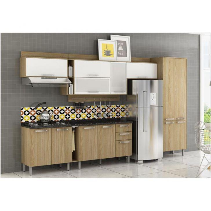 Cozinha Modulada Composição 04 Audace - Carvalho com Branco DESCONTO DE R$: 1.516,75 (32,00% OFF) - OFERTA MOBLY