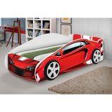 Cama Juvenil Carros Adesivada Mustang Branco/Vermelho - Jm Barreto