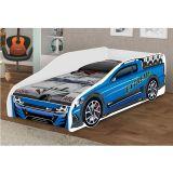 Cama Juvenil Carros Extreme Adesivada Branco/Azul - Jm Barreto