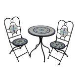 Conjunto de Mesa 2 Cadeiras Mosáico Branca e Azul