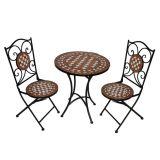 Conjunto de Mesa 2 Cadeiras Mosáico Marrom e Branca