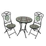 Conjunto de Mesa 2 Cadeiras Mosáico Verde e Branca