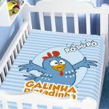 Cobertor Infantil  Raschel Galinha Pintadinha Sortido Azul